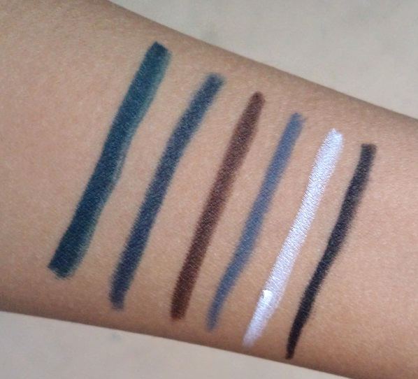 lakme eyeconic kajal shades green grey blue white brown black swatches
