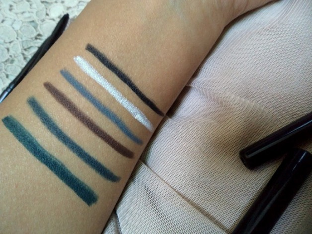 lakme eyeconic kohl shades green grey blue white brown black swatches