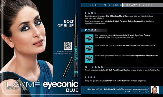 Lakme eyeconic blue kajal how to look like kareena kapoor