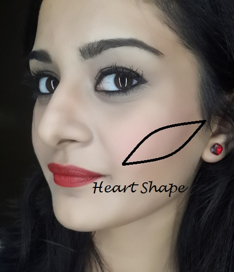 blush application tutorial for heart face shape