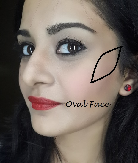 blush application tutorial for oval face shape