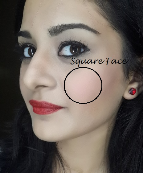 blush application tutorial for square face shape