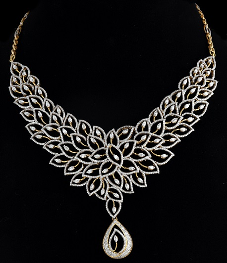 diamond peacock necklace designs jewellry indian