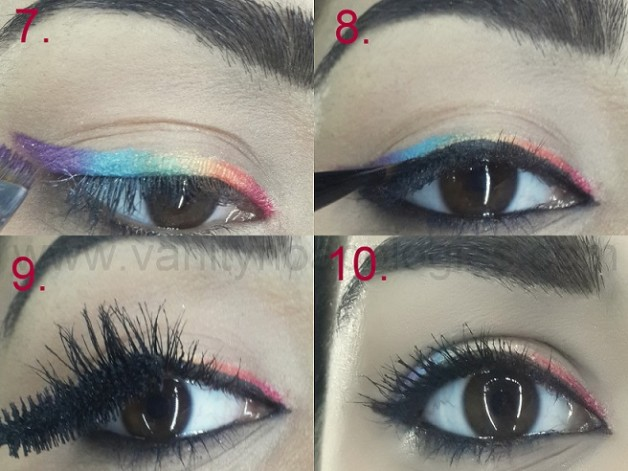 easy rainbow eye makeup tutorial step by step