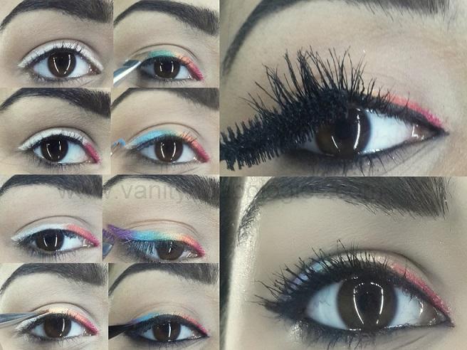 Tutorial How To Do Rainbow Eye Makeup Eyeliner Look Easily