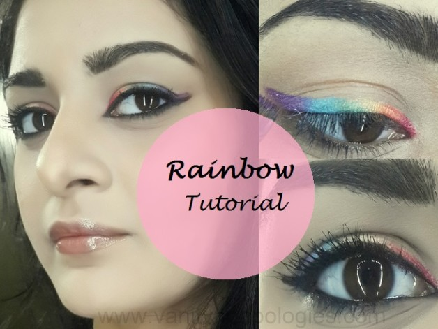 easy rainbow eyes colourful makeup tutorial steps