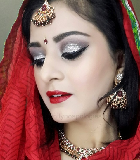 indian bridal makeup silver red tutorial