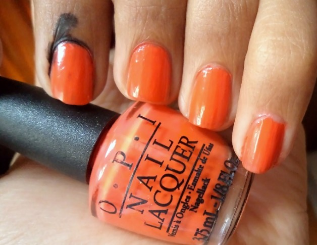 opi atomic orange nail polish brights collection swatch