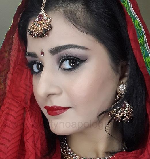 red bridal indian makeup look tutorial