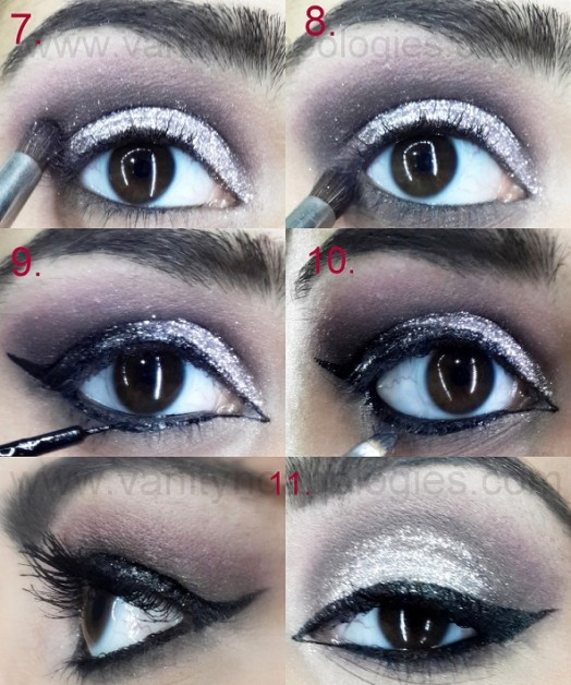 silver glitter dramatic eye makeup tutorial step by step