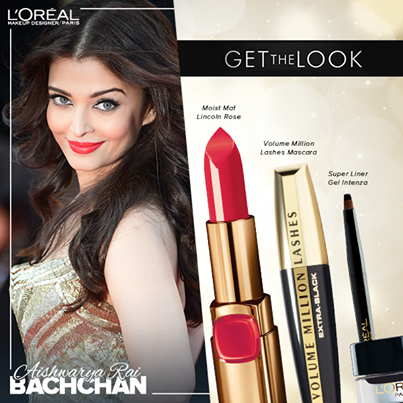 Aishwarya Rai Bachchan makeup products used cannes 2014