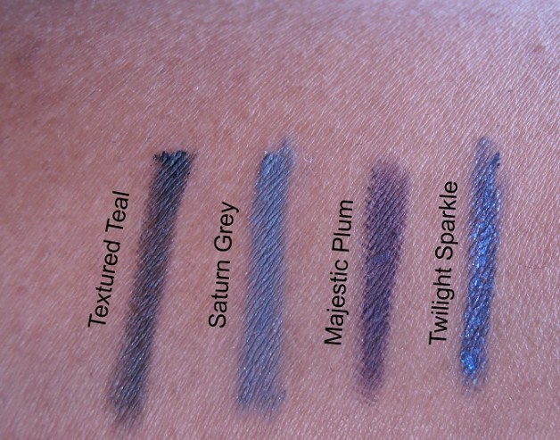 Avon Glimmersticks Eye Liners Textured Teal Majestic Plum Saturn Grey Twilight Sparkle Review swatch