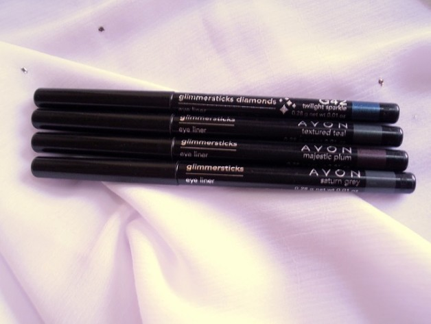 Avon Glimmersticks Diamonds Eye Liners Twilight Sparkle Textured Teal Majestic Plum Saturn Grey Review swatches photo