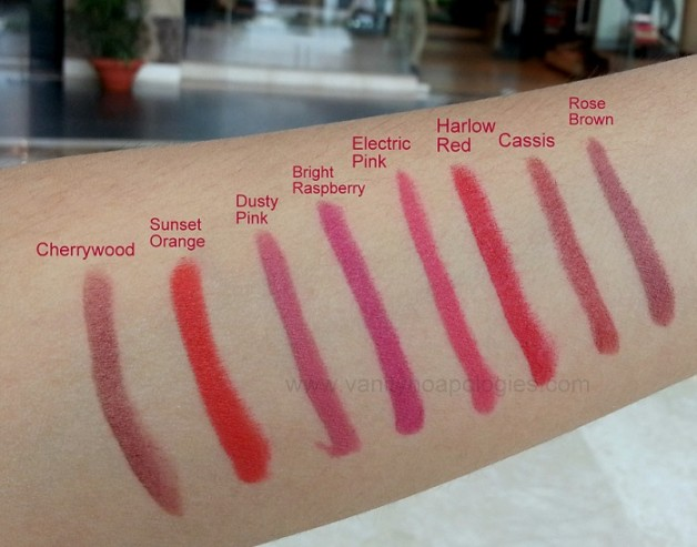 preview and swatches of all 8 shades bobbi brown art sticks