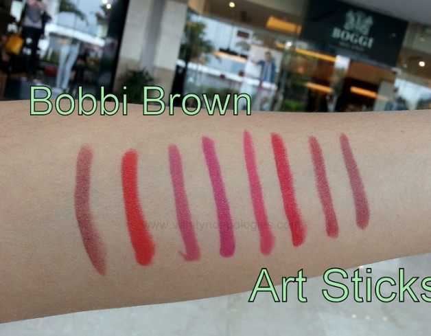 Bobbi Brown Art Sticks swatches cherrywood sunset orange dusty pink bright raspberry harlow red electric pink rose brown cassis