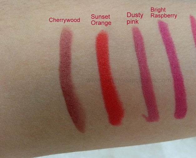 Bobbi Brown Art Sticks swatches cherrywood sunset orange dusty pink bright raspberry