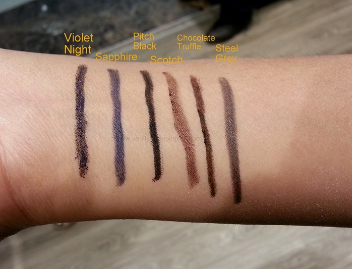 Bobbi Brown Long Wear Gel Eyeliners Swatches