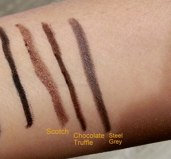 Bobbi Brown Perfectly Defined Stylo Gel Eyeliners swatches chocolate truffle steel grey scotch