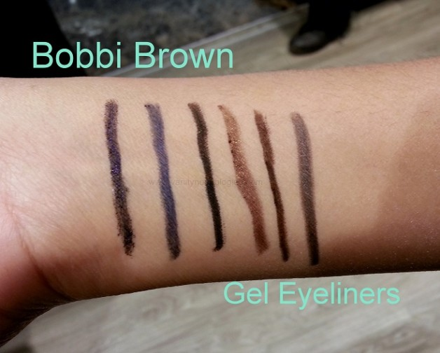 Bobbi Brown Perfectly Defined Stylo Gel Eyeliners swatches violet night sapphire pitch black chocolate truffle steel grey scotch
