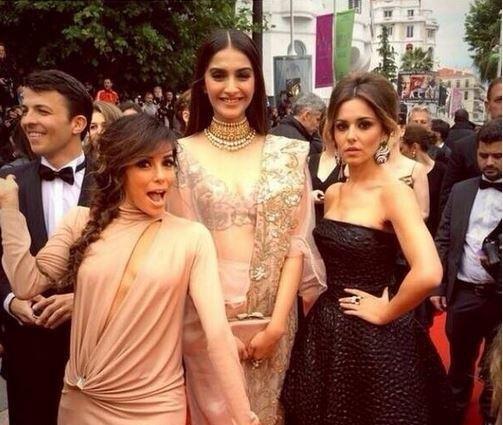 Sonam Kapoor with Eva Longoria Cheryl Cole Cannes 2014