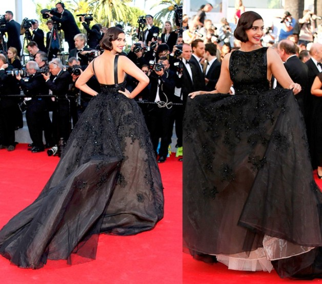 Sonam Kapoor Elie Saab black gown 67th Annual Cannes Film Festival
