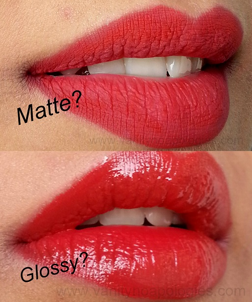 classic matte red lipstick vs glossy red pout