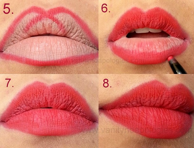 how to apply red lipstick