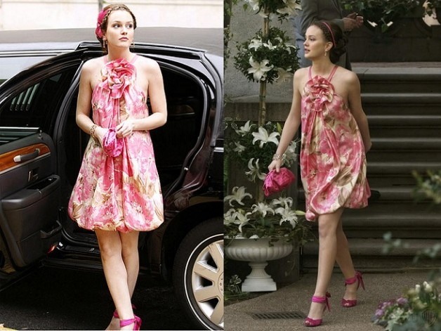 blair waldorf season1 ep18 floral dress head band