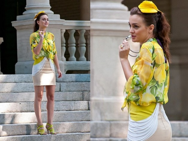 blair waldrof season5 ep6 Moschino Cheap Chic blouse Carlos Miele skirt