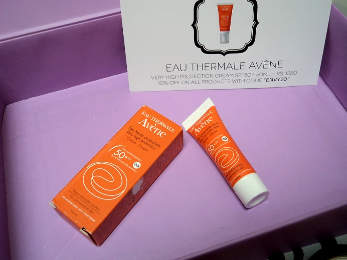 myenvybox july samples eau thermal avene sunscreen spf50