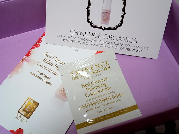 myenvybox july samples eminence organics red currant balancing concentrate