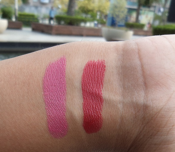 Avon Ultra Color Matte Lipsticks lily and garnet reviews swatch
