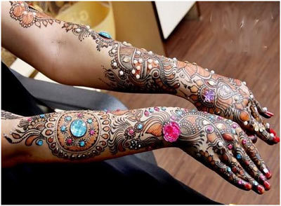 Best Arabic Mehndi Designs for hands colourful 25
