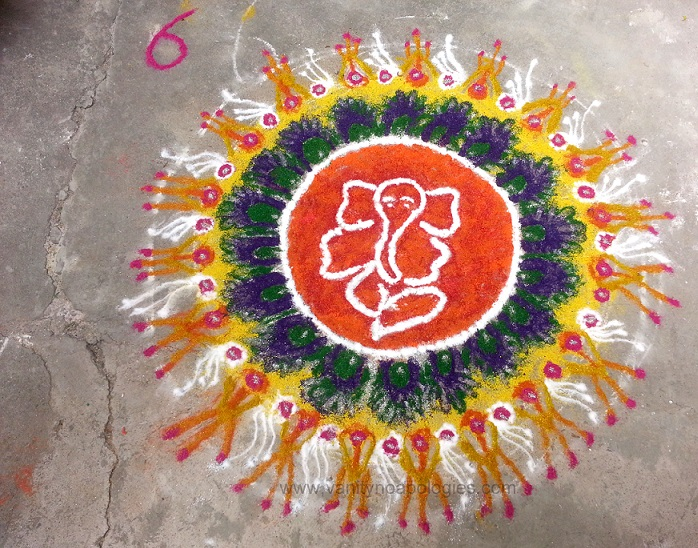 beautiful ganesh motif rangoli design for diwali