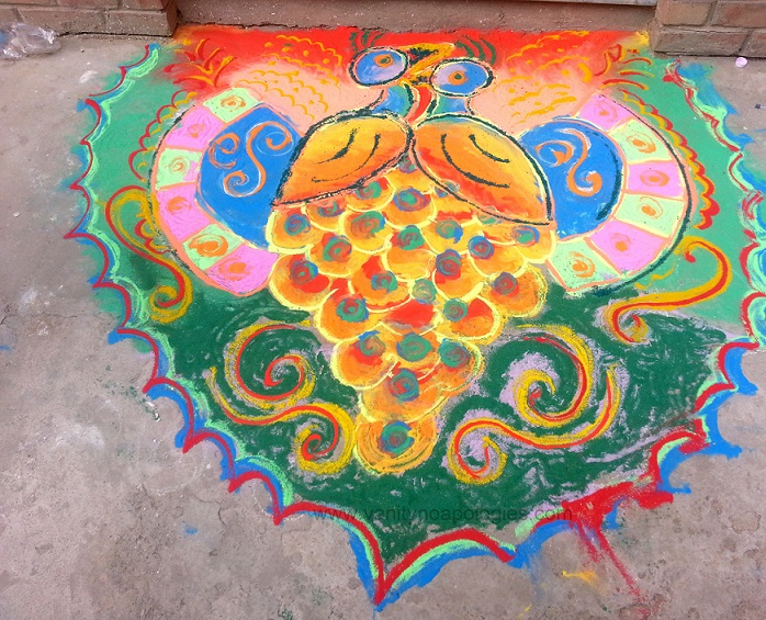 best peacock rangoli design for winning school college competitions
