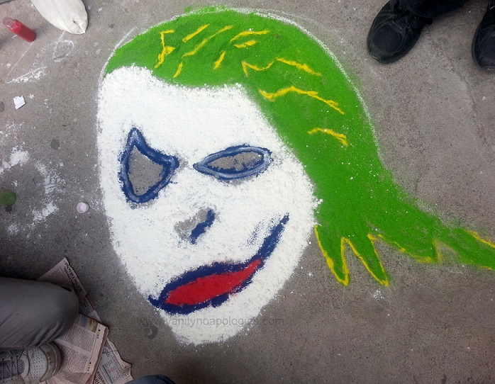 cartoon joker inspired rangoli design