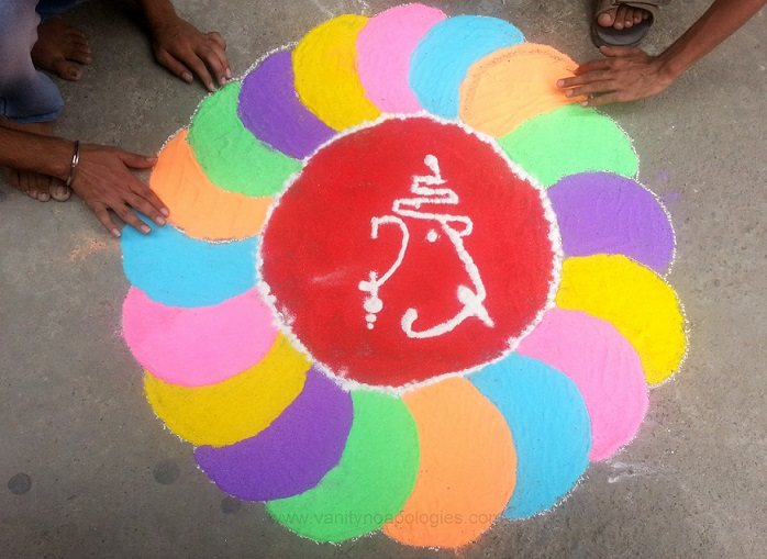 easy colourful ganesh rangoli design