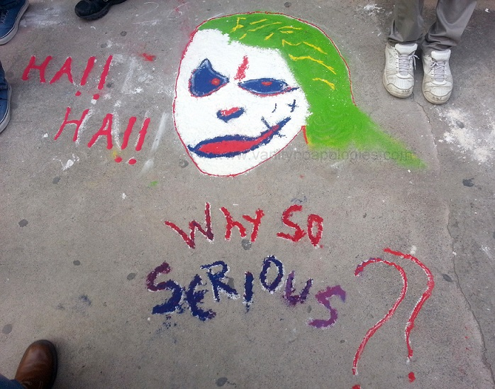 funny joker inspired rangoli design