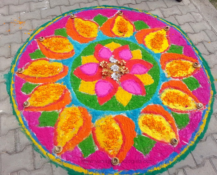 leaf art pink yellow rangoli design for indian festivals