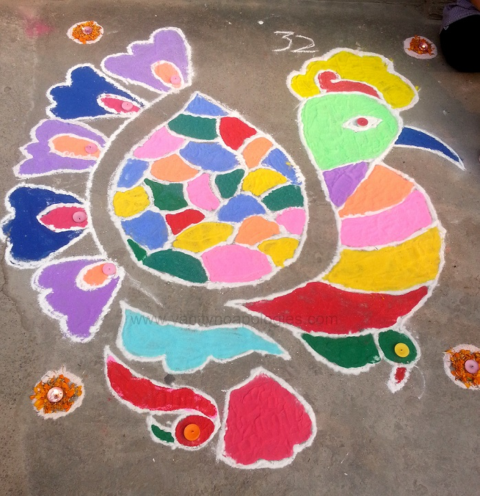peacock dot rangoli design easy