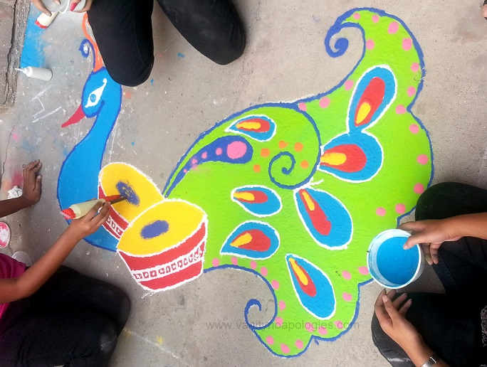 peacock rangoli design for competitions