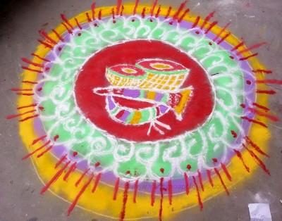 rangoli design free hand with tabla drums