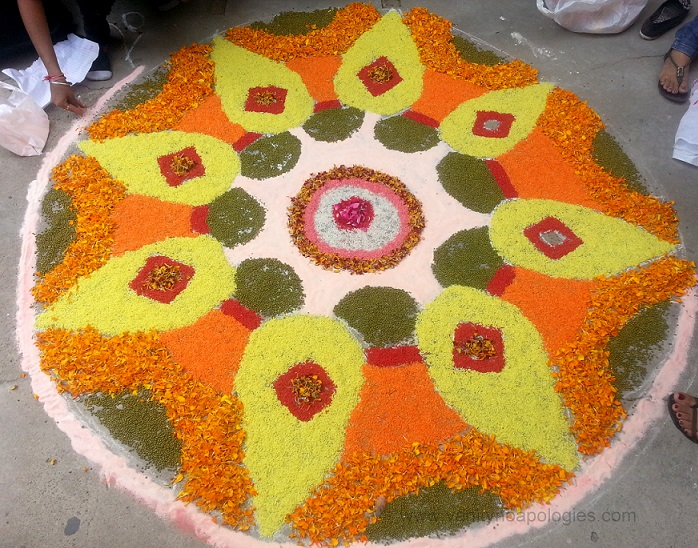 rangoli designs with flowers marigold roses