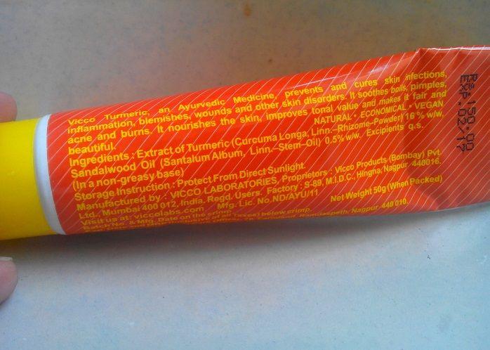 Vicco Turmeric Skin Cream review ingredients