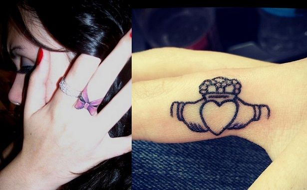 best finger tattoo designs bows hearts