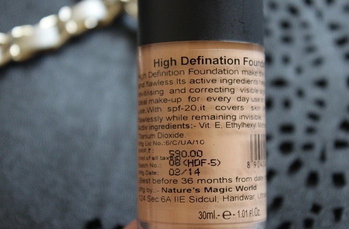 Coloressence-High-Definition-Foundation-Hdf5-review-swatches-ingredients