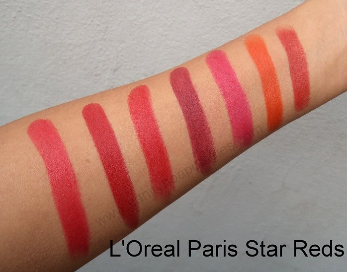 LOreal-Collection-Star-Red-Lipsticks-Shades-Review-Swatches-price-india