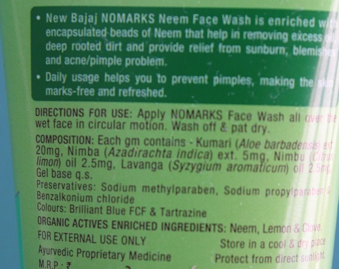 NoMarks-Neem-Face-Wash-Review-ingredients