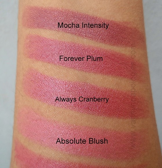 Oriflame-The-One-Colour-Unlimited-Lipsticks-Reviews-Swatches-absoluteblush-alwayscranberry-foreverplum-mochaintensity