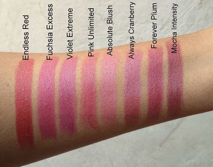 Oriflame-The-One-Colour-Unlimited-Lipsticks-Reviews-Swatches-all-Shades